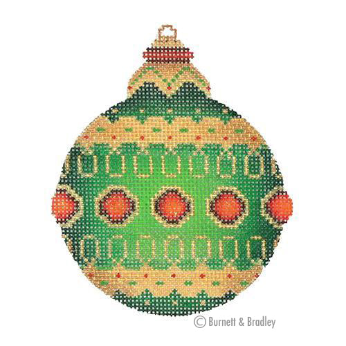 BB 3127 - Jeweled Christmas Ball - Green with Red Jewels