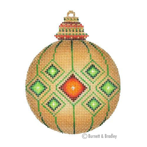 BB 3129 - Jeweled Christmas Ball - Gold with Green & Red Jewels