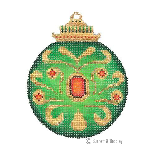 BB 3132 - Jeweled Christmas Ball - Green with Red Jewels