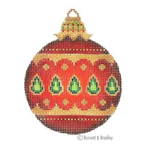 BB 3133 - Jeweled Christmas Ball - Red with Green Jewels