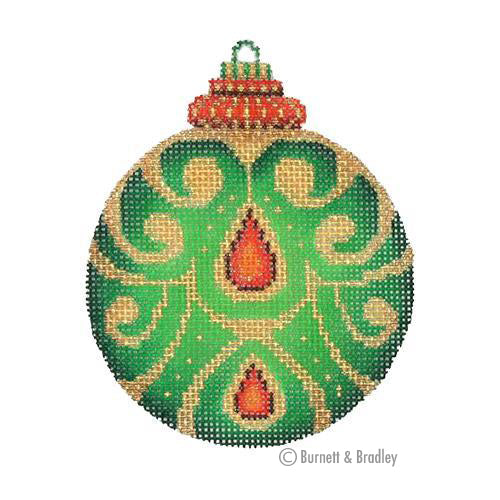 BB 3134 - Jeweled Christmas Ball - Green with Red Jewels