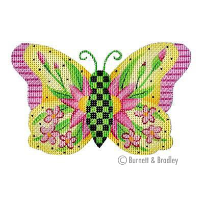 BB 3150 - Butterfly - Yellow with Pink Flowers