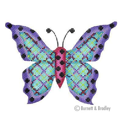 BB 3151 - Butterfly - Blue Plaid with Purple Edges & Black Dots