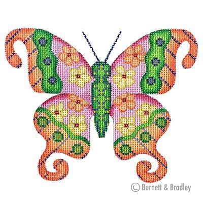 BB 3157 - Butterfly - Orange with Pink & Yellow Flowers