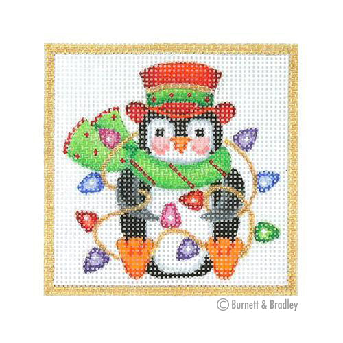 BB 3175 - Square Ornament - Penguin Wrapped in Lights
