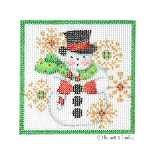 BB 3176 - Square Ornament - Snowman & Snowflakes