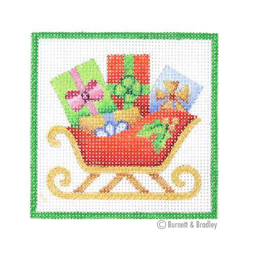 BB 3185 - Square Ornament - Red Sleigh