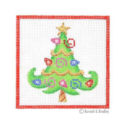 BB 3186 - Square Ornament - Tree with Christmas Lights