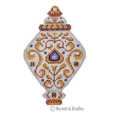 BB 3224 - White & Gold Ornament - Violet Jewels
