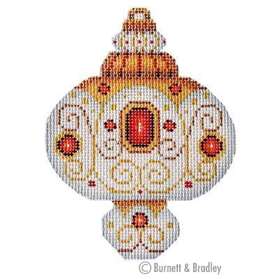 BB 3225 - White & Gold Ornament - Ruby Jewels