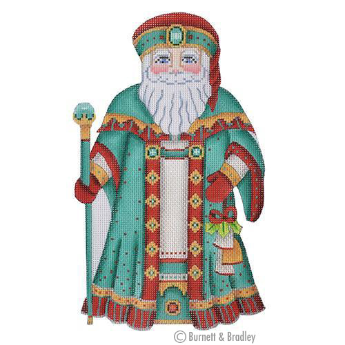 BB 6004 Large Santa - Aqua & Red Coat Holding Ornament