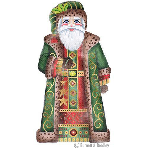BB 6007 Large Santa - Dark Green Coat Holding Stars