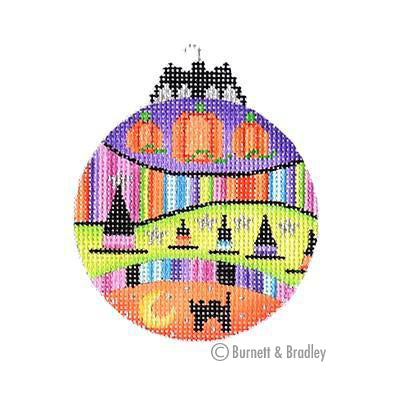 BB 6102 - Halloween Bat Bauble - Pumpkins & Witch Hats
