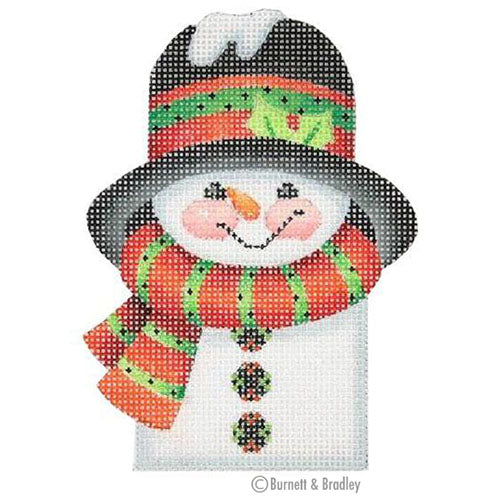 BB 0038 - Snowman Picket - Green & Red Striped Scarf