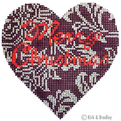 KB 054 - Burgundy/Silver Heart