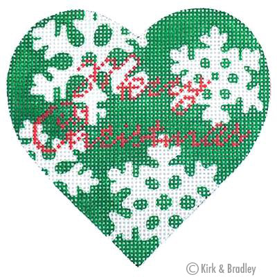 KB 058 - Green Snowflake Heart