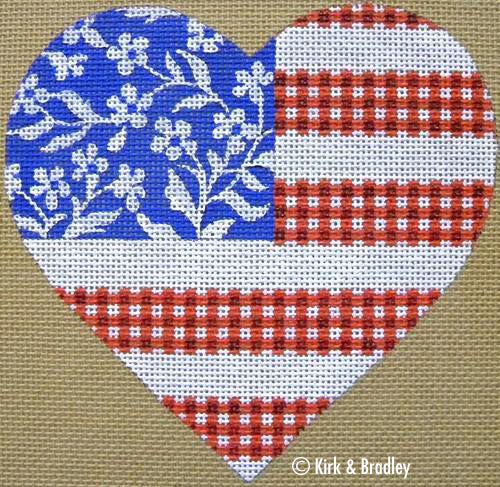 KB 092 - Floral Flag - Stars & Stripes Heart