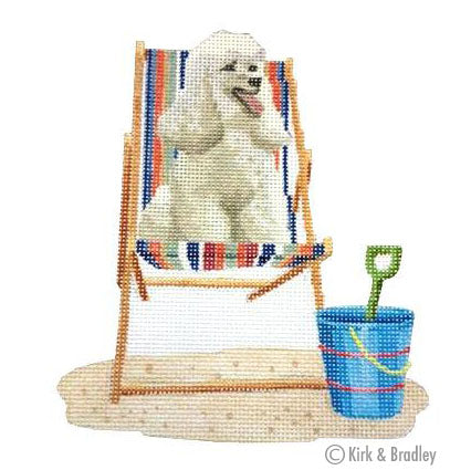 KB 1162 - Retro Beach - Poodle on Deck Chair