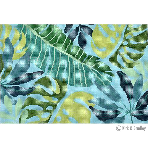 KB 1404 - Tropical Leaves Clutch - Blue