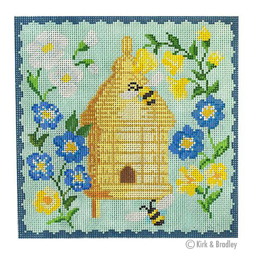 KB 1519 - Bee Skep - Blue Flowers