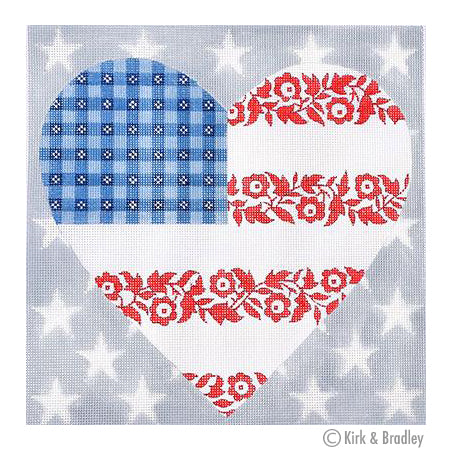 KB 250 - Floral Flag -  Stars & Stripes Heart