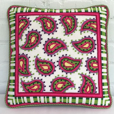 BB 0673 - Pillow - Pink & Green Paisley