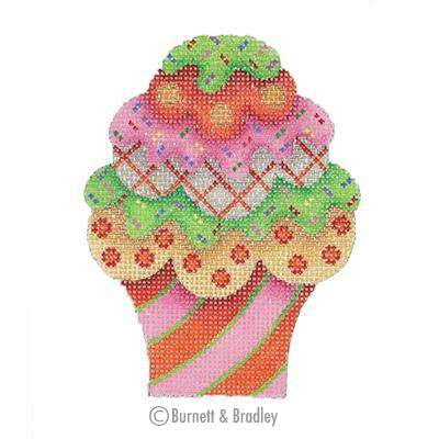 BB 0114 - Cupcake - Pink & Red Stripes