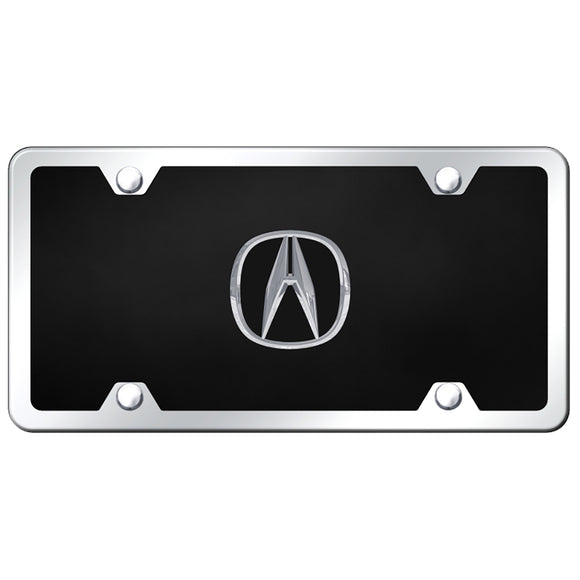 Chrome Acura License Plate on Black Acrylic Kit
