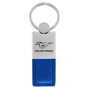 Ford Mustang Keychain & Keyring - Duo Premium Blue Leather