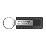Dodge Charger Keychain & Keyring - Gun Metal Carbon Fiber Texture Leather