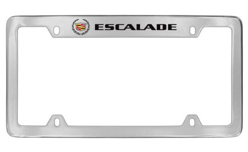 Cadillac Escalade Chrome Plated Metal Top Engraved License Plate Frame Holder