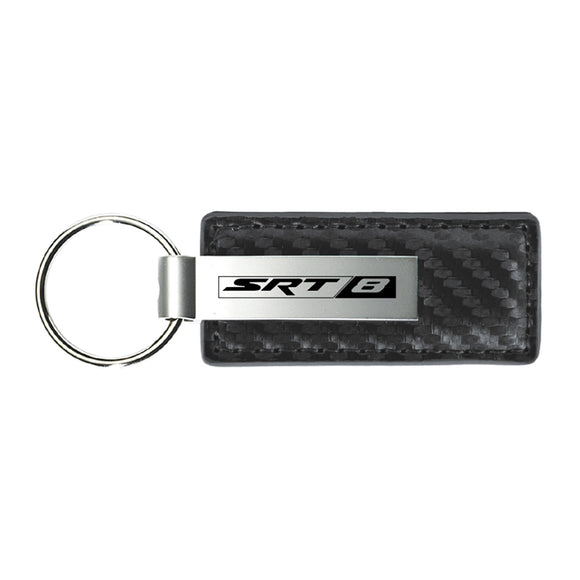 Dodge SRT-8 Keychain & Keyring - Gun Metal Carbon Fiber Texture Leather