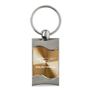 Ford Mustang Keychain & Keyring - Gold Wave