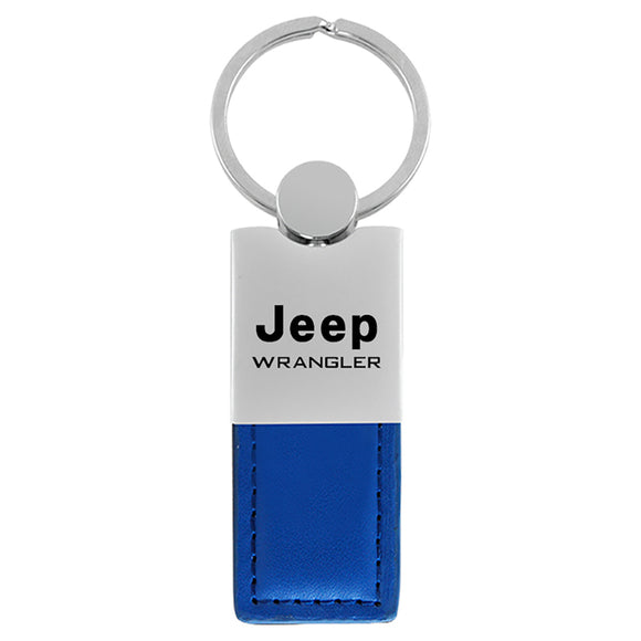 Jeep Wrangler Keychain & Keyring - Duo Premium Blue Leather