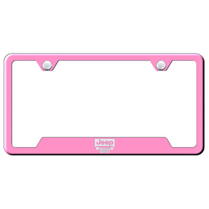 Jeep Grill License Plate Frame - Laser Etched Cut-Out Frame - Pink