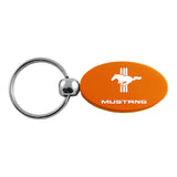 Ford Mustang Tri-Bar Keychain & Keyring - Orange Oval