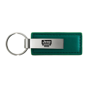 Jeep Grill Keychain & Keyring - Green Premium Leather