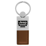 Jeep Grill Keychain & Keyring - Duo Premium Brown Leather