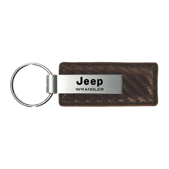 Jeep Wrangler Keychain & Keyring - Brown Carbon Fiber Texture Leather