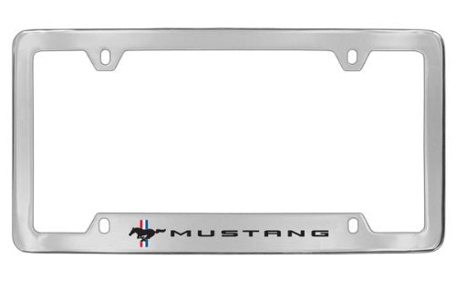 Ford Mustang Pony Chrome Plated Metal Bottom Engraved License Plate Frame Holder