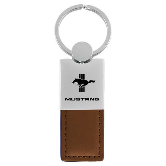 Ford Mustang Tri-Bar Keychain & Keyring - Duo Premium Brown Leather