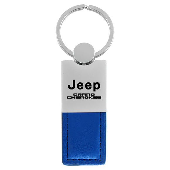 Jeep Grand Cherokee Keychain & Keyring - Duo Premium Blue Leather