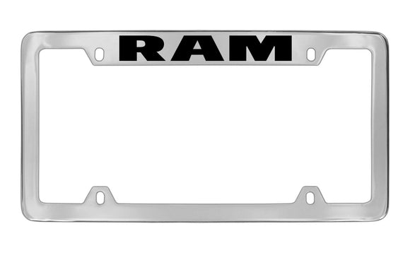 Dodge Ram Chrome Plated Metal Top Engraved License Plate Frame Holder