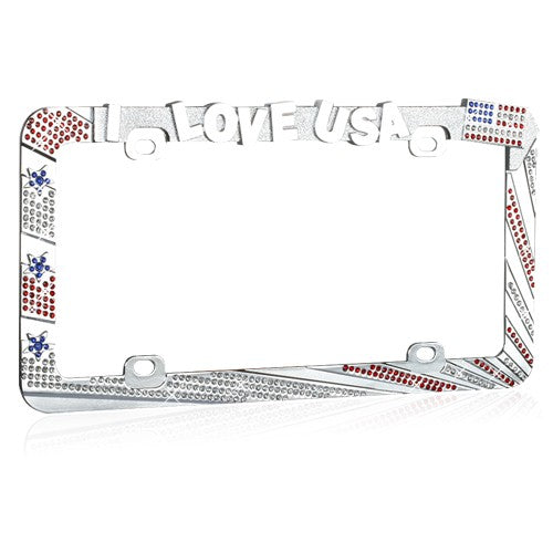 I LOVE USA Design License Plate Frame with Crystals
