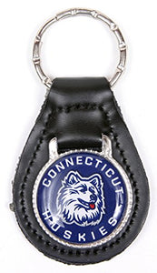 Connecticut Huskies Keychain & Keyring - Leather