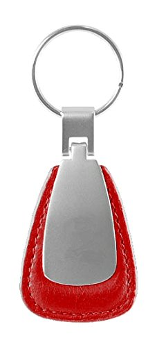 Metal Promotional Keychain & Keyring - Red Leather Teardrop