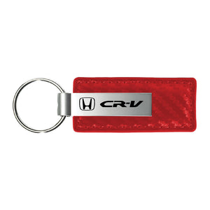 Honda CR-V Keychain & Keyring - Red Carbon Fiber Texture Leather