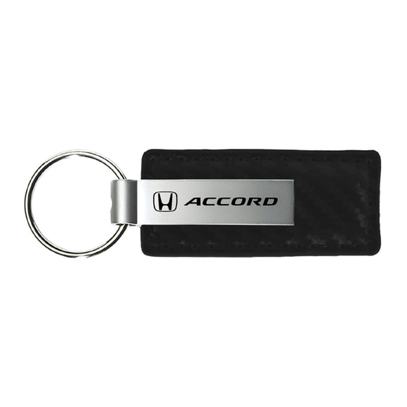 Honda Accord Keychain & Keyring - Carbon Fiber Texture Leather