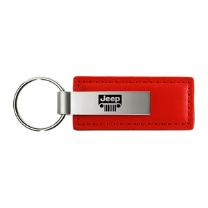Jeep Grill Keychain & Keyring - Red Premium Leather