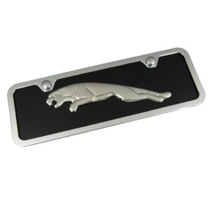 Jaguar Chrome Logo On Mini License Plate + Frame